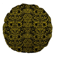 Damask2 Black Marble & Yellow Leather (r) Large 18  Premium Flano Round Cushions