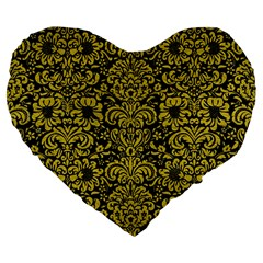 Damask2 Black Marble & Yellow Leather (r) Large 19  Premium Flano Heart Shape Cushions
