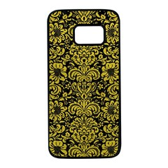 Damask2 Black Marble & Yellow Leather (r) Samsung Galaxy S7 Black Seamless Case