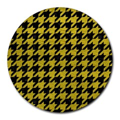 Houndstooth1 Black Marble & Yellow Leather Round Mousepads