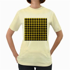 Houndstooth1 Black Marble & Yellow Leather Women s Yellow T Shirt