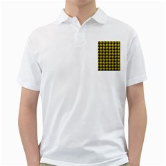 Houndstooth1 Black Marble & Yellow Leather Golf Shirts