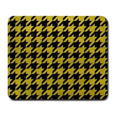Houndstooth1 Black Marble & Yellow Leather Large Mousepads