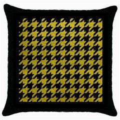Houndstooth1 Black Marble & Yellow Leather Throw Pillow Case (black)