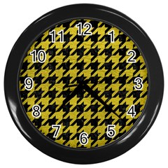 Houndstooth1 Black Marble & Yellow Leather Wall Clocks (black)
