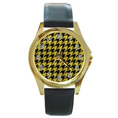 Houndstooth1 Black Marble & Yellow Leather Round Gold Metal Watch