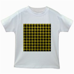 Houndstooth1 Black Marble & Yellow Leather Kids White T Shirts