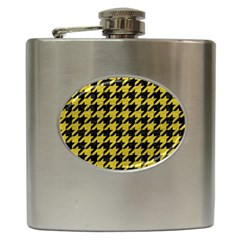 Houndstooth1 Black Marble & Yellow Leather Hip Flask (6 Oz)