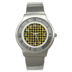 Houndstooth1 Black Marble & Yellow Leather Stainless Steel Watch