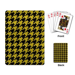 Houndstooth1 Black Marble & Yellow Leather Playing Card