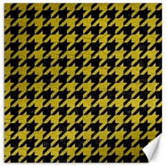 Houndstooth1 Black Marble & Yellow Leather Canvas 16  X 16