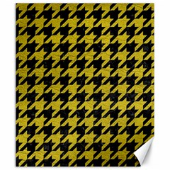 Houndstooth1 Black Marble & Yellow Leather Canvas 20  X 24