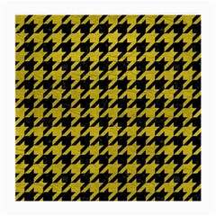 Houndstooth1 Black Marble & Yellow Leather Medium Glasses Cloth (2 Side)