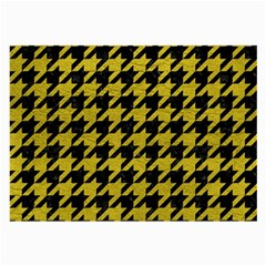 Houndstooth1 Black Marble & Yellow Leather Large Glasses Cloth (2 Side)