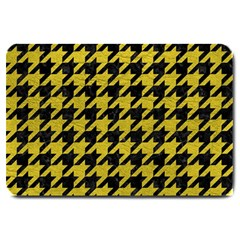 Houndstooth1 Black Marble & Yellow Leather Large Doormat