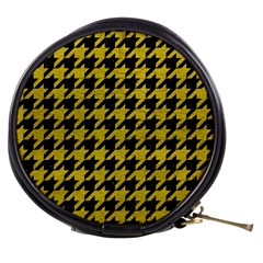 Houndstooth1 Black Marble & Yellow Leather Mini Makeup Bags