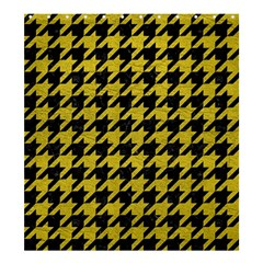 Houndstooth1 Black Marble & Yellow Leather Shower Curtain 66  X 72  (large)
