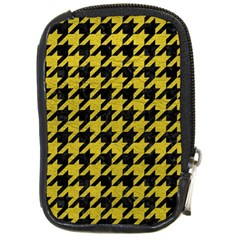 Houndstooth1 Black Marble & Yellow Leather Compact Camera Cases