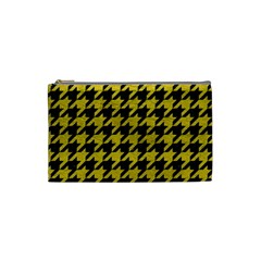 Houndstooth1 Black Marble & Yellow Leather Cosmetic Bag (small)