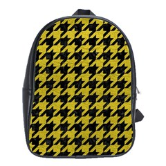 Houndstooth1 Black Marble & Yellow Leather School Bag (large)