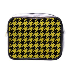 Houndstooth1 Black Marble & Yellow Leather Mini Toiletries Bags