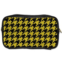 Houndstooth1 Black Marble & Yellow Leather Toiletries Bags