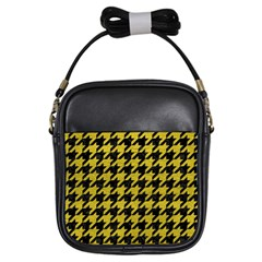 Houndstooth1 Black Marble & Yellow Leather Girls Sling Bags