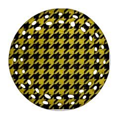 Houndstooth1 Black Marble & Yellow Leather Round Filigree Ornament (two Sides)