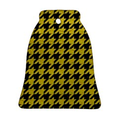 Houndstooth1 Black Marble & Yellow Leather Bell Ornament (two Sides)