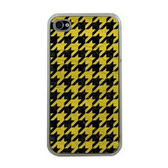 Houndstooth1 Black Marble & Yellow Leather Apple Iphone 4 Case (clear)
