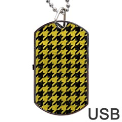 Houndstooth1 Black Marble & Yellow Leather Dog Tag Usb Flash (two Sides)