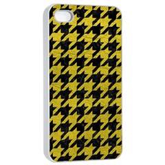 Houndstooth1 Black Marble & Yellow Leather Apple Iphone 4/4s Seamless Case (white)