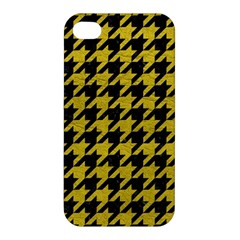 Houndstooth1 Black Marble & Yellow Leather Apple Iphone 4/4s Hardshell Case