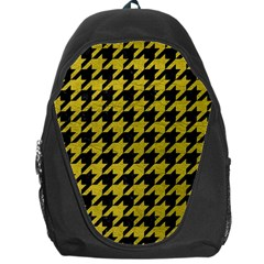 Houndstooth1 Black Marble & Yellow Leather Backpack Bag
