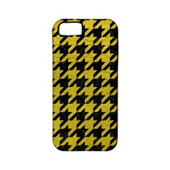 Houndstooth1 Black Marble & Yellow Leather Apple Iphone 5 Classic Hardshell Case (pc+silicone)