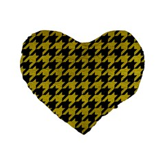 Houndstooth1 Black Marble & Yellow Leather Standard 16  Premium Heart Shape Cushions