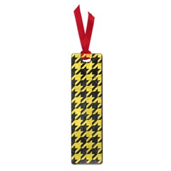 Houndstooth1 Black Marble & Yellow Leather Small Book Marks