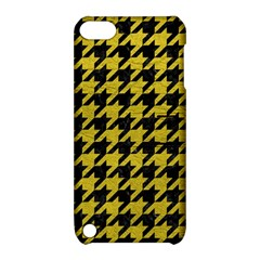Houndstooth1 Black Marble & Yellow Leather Apple Ipod Touch 5 Hardshell Case With Stand