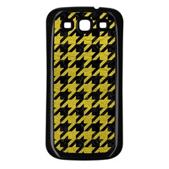 Houndstooth1 Black Marble & Yellow Leather Samsung Galaxy S3 Back Case (black)