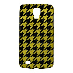 Houndstooth1 Black Marble & Yellow Leather Galaxy S4 Active