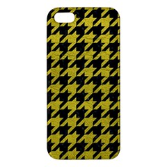 Houndstooth1 Black Marble & Yellow Leather Iphone 5s/ Se Premium Hardshell Case
