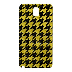 Houndstooth1 Black Marble & Yellow Leather Samsung Galaxy Note 3 N9005 Hardshell Back Case