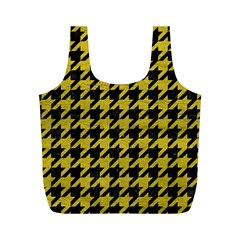 Houndstooth1 Black Marble & Yellow Leather Full Print Recycle Bags (m)