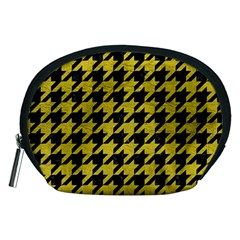 Houndstooth1 Black Marble & Yellow Leather Accessory Pouches (medium)