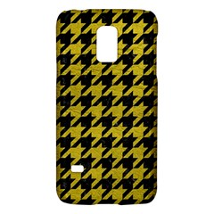 Houndstooth1 Black Marble & Yellow Leather Galaxy S5 Mini