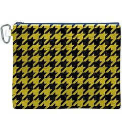 Houndstooth1 Black Marble & Yellow Leather Canvas Cosmetic Bag (xxxl)