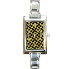Houndstooth2 Black Marble & Yellow Leather Rectangle Italian Charm Watch