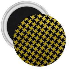 Houndstooth2 Black Marble & Yellow Leather 3  Magnets