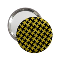 Houndstooth2 Black Marble & Yellow Leather 2 25  Handbag Mirrors