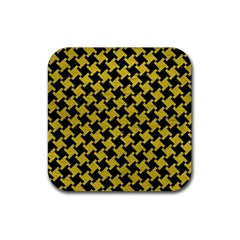 Houndstooth2 Black Marble & Yellow Leather Rubber Square Coaster (4 Pack)